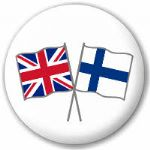 Great Britain and Finland Friendship Flag 25mm Pin Button Badge